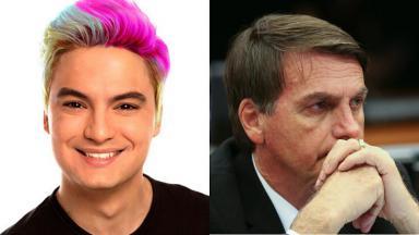 Jair Bolsonaro (à direita) e Felipe Neto (à esquerda) em foto montagem