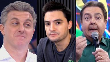 Felipe Neto, Luciano Huck e Faustão em foto montagem