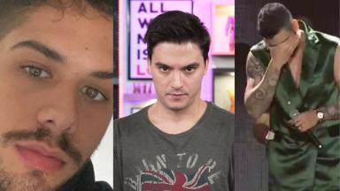 Zé Felipe (à esquerda), Felipe Neto (no meio) e Gusttavo Lima (à direita) em foto montagem