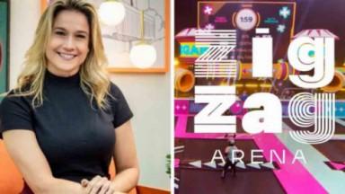 Fernanda Gentil e cenário/logo do Zig Zag Arena