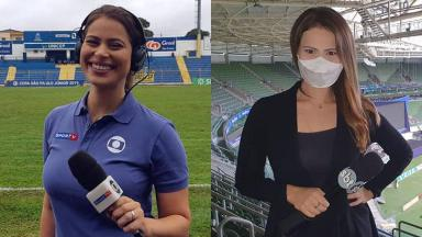 A jornalista Fernanda Arantes no canal pago SporTV, em 2019, e no SBT, atualmente