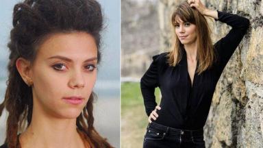 Colagem de Joana Lerner na pele de Luana e a atriz atualmente