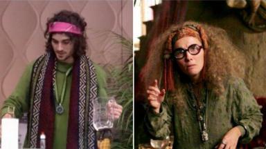 Cilagem com Fiuk de blusão verde, e personagem de Harry Potter ao lado