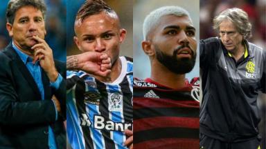 Renato Gaúcho, Everton Cebolinha, Gabigol e Jorge Jesus