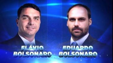 Flávio e Eduardo Bolsonaro em arte do SBT