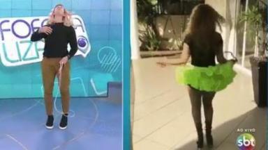 Gabriel Cartolano pula corda com peruca longa e loira no cabelo durante o Fofocalizando