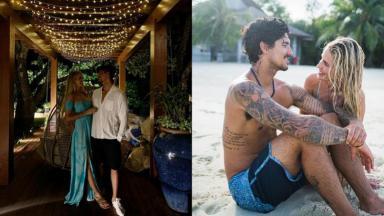 Gabriel Medina abraçado com Yasmin Brunet na praia