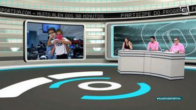 O repórter Alexandre Silvestre exibe a filha, Maria, ao vivo no Gazeta Esportiva