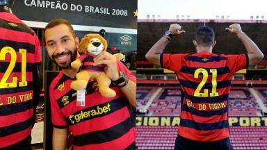 Gil do Vigor com mascote do Sport e no estádio