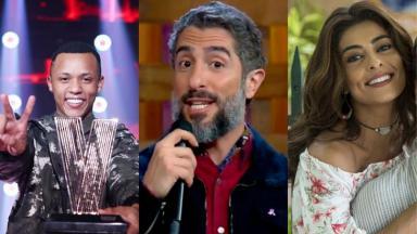 Vencedor do The Voice Brasil, Marcos Mion e Juliana Paes em foto montagem