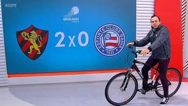 Tiago Medeiros no Globo Esporte PE de bicicleta