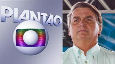 Logo plantão da Globo; Bolsonaro sério