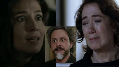 Cora dentro do carro de Zé Alfredo e Marta chorando em montagem do NaTelinha