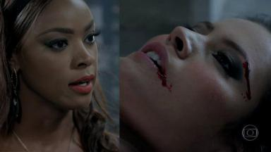 Juju Popular irritada; Carmen ensanguentada no chão