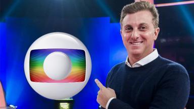 Luciano Huck apontando para o logotipo da Globo em  montagem do NaTelinha