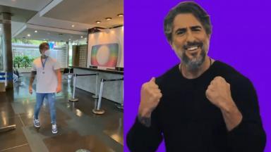 Marcos Mion na Globo (à esquerda) e Marcos Mion na chamada do Caldeirão (à direita) em foto montagem