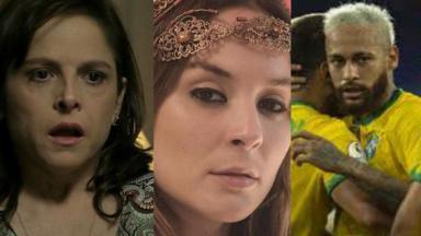 Montagem de fotos, com a tela dividida em três com Cora, de império, personagem de Gênesis e Neymar comemorando gol
