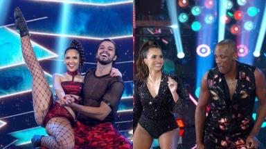 Montagem de fotos com Rodrigo Simas e Robson Caetano dançando com suas parceiras na Super Dança dos Famosos