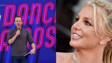 Tela dividida com Tiago Leifert e Britney Spears