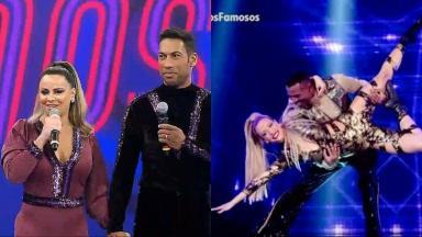 Montagem com a tela dividida com Viviane Araújo e seu parceiro e Juliana Didone dançando com o parceiro dela