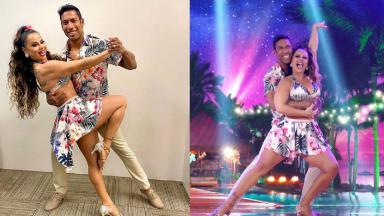 Viviane Araújo dançando com seu professor de dança