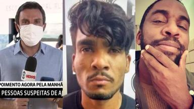 Artur Bernardi durante noticiário; Lázaro Barbosa na Policia; Lázaro Ramos com mão no queixo