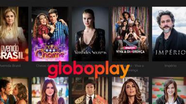 Logotipo do Globoplay tendo ao fundo alguns títulos da plataforma