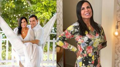 Foto montagem de Gretchen com o noivo e sozinha sorrindo
