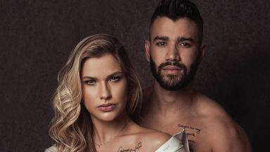Andressa Suita e Gusttavo Lima em foto posada