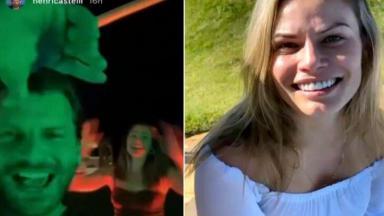 Henri Castelli na festa (à esquerda) e Natália Casassola (à direita) em foto montagem