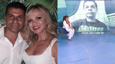 Edmilson Martins Dias e Eliana sorridentes em foto e telão com estúdio do Fofocalizando exibindo homenagem ao colaborar