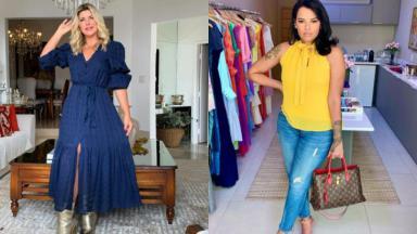 Montagem de fotos de Íris Stefanellim de pé, com um vestido longo e a mão no cabelo e Ariadna segurando uma bolsa, usando calça jeans e blusa amarela