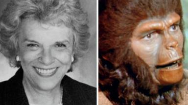 Colagem em que mostra Jacqueline Scott e sua personagem em Planeta dos Macacos