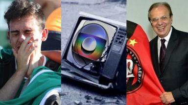Montagem de torcedor da Chapecoense, com logo da Globo e diretor do Athletico sorrindo