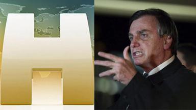 Logo tipo do Jornal Hoje (esquerda) e Bolsonaro (direita) em foto montagem