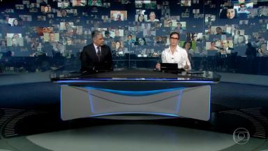 William Bonner e Renata Vasconcellos na bancada do Jornal Nacional