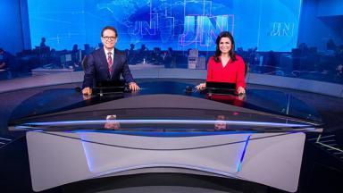 Carlos Tramontina e Priscilla Castro no Jornal Nacional