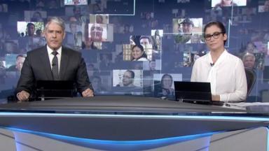 William Bonner e Renata Vasconcellos apresentando o Jornal Nacional