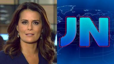 Adriana Araújo (à esquerda) e logotipo do JN (à direita) em foto montagem