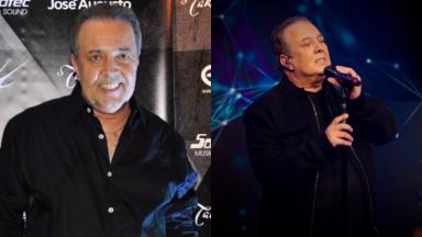 Montagem de fotos do cantor José Augusto, sorridente, olhando para a câmera e com os olhos fechados, segurando um microfone durante apresentação