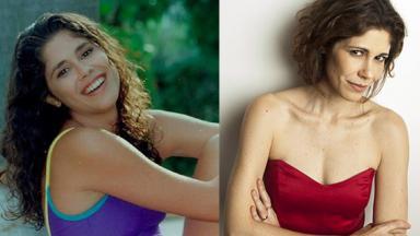 Montagem com Juliana Martins há 15 anos, à esquerda, e sorrindo numa foto posada atualmente, à direita