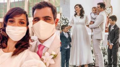 Juliano Cazarré e Letícia são pais de três meninos: Vicente, Inácio e Gaspar