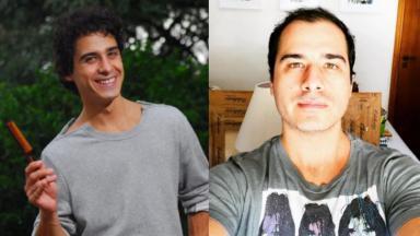 À esquerda, André Arteche como Julinho em Ti Ti Ti; à direita, aos 36 anos, em selfie postada no Instagram