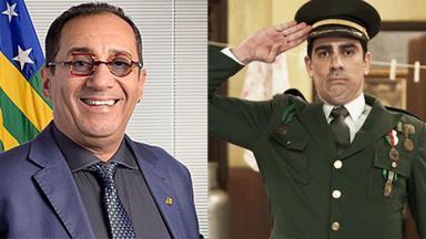 Jorge Kajuru posando como senador e Marcelo Adnet vestido como militar