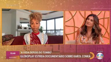 Karol Conká falando em entrevista à Fátima Bernardes