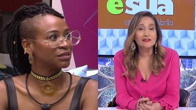Karol Conká no BBB21 (à esquerda) e Sônia Abrão (à direita) em foto montagem
