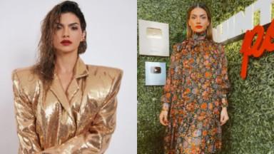 """Kelly Key com uma jaqueta dourada, batom e cabelo molhado e com um vestido florido no estúdio do seu programa """"Quintapod"""""""
