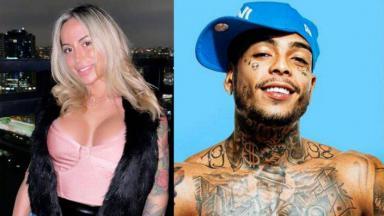 Bianca Domingues posada; MC Kevin em ensaio