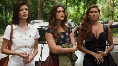 Kyra/Cleyde, Luna/Fiona e Alexia/Josimara quando chegam no sítio em 'Salve-se Quem Puder'