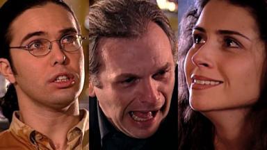 Flávio Silvino, Henri Pagnoncelli e Giovanna Antonelli em cena da novela Laços de Família, em reprise na Globo